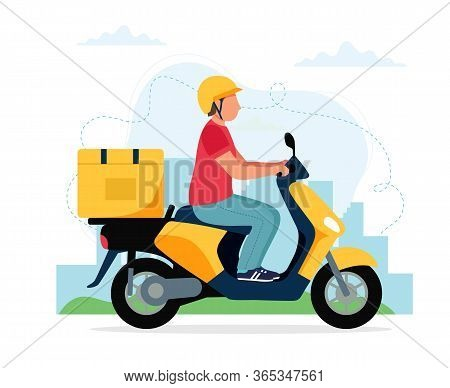 Scooter Delivery Service Concept, Male Courier Character Riding Scooter With Delivery Box. Vector Il
