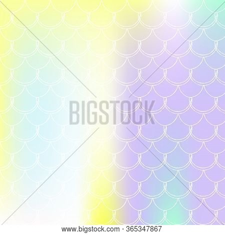 Gradient Scale Background With Holographic Mermaid. Bright Color Transitions. Fish Tail Banner And I