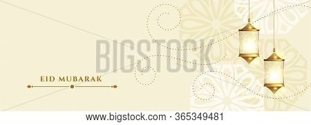 Eid Mubarak White Banner With Hanging Lamps Decoration