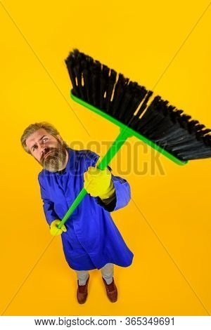House Cleaning. Broom. Bearded Man With Broom. Cleaning And Disinfection. Professional Cleaning. Cle