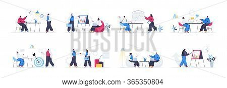 Bundle Of Business Meeting Scenes. Manager Making Presentation, Businesspersons Discuss Business Str