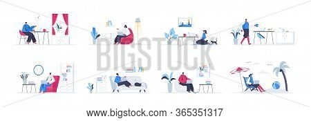 Bundle Of Freelance Work Scenes. Freelancer Working With Laptop In Comfortable Conditions At Home, S
