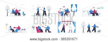 Bundle Of Love Couple Scenes. Couple Having Fun At Date, Man Proposing Girl To Marry, Wedding Ceremo