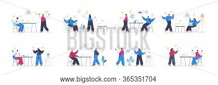 Bundle Of People Confrontation Scenes. Conflict And Disagreement At Work, People Shouting Each Over,