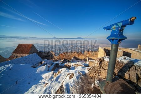 A Beautiful View From A Mountain Top Through A Telescope. Telescope For Tourists. On The Horizon You
