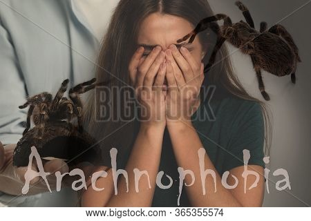 Arachnophobia Concept. Double Exposure Of Scared Woman And Spiders
