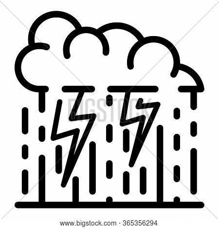 Thunderstorm Cloud With Rain Icon. Outline Thunderstorm Cloud With Rain Vector Icon For Web Design I