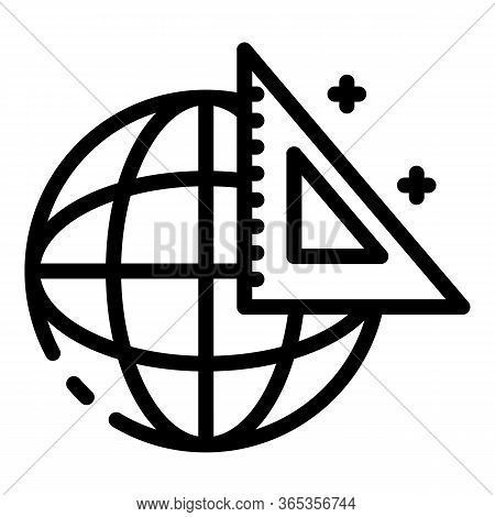 Globe And Triangular Ruler Icon. Outline Globe And Triangular Ruler Vector Icon For Web Design Isola