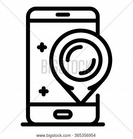 Gps Point On A Smartphone Icon. Outline Gps Point On A Smartphone Vector Icon For Web Design Isolate