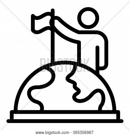 Man Puts A Flag On A Globe Icon. Outline Man Puts A Flag On A Globe Vector Icon For Web Design Isola