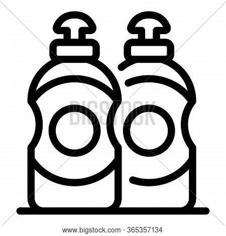 Dishwashing Liquid Bottles Icon. Outline Dishwashing Liquid Bottles Vector Icon For Web Design Isola