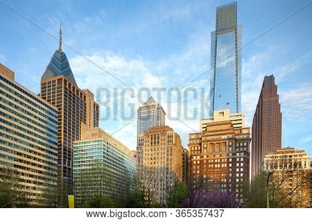 Skyline Of Modern Buildings At Downtown From Rittenhouse Square, Philadelphia, Pennsylvania, United