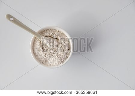 White  Cosmetic Clay  Powders On White Background. Flat Lay