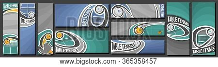 Vector Set Of Table Tennis Banners, Vertical And Horizontal Decorative Templates For Table Tennis Ev