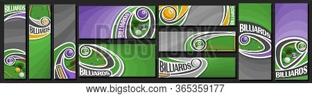 Vector Set Of Billiards Banners, Vertical And Horizontal Decorative Templates For Billiard Events Wi