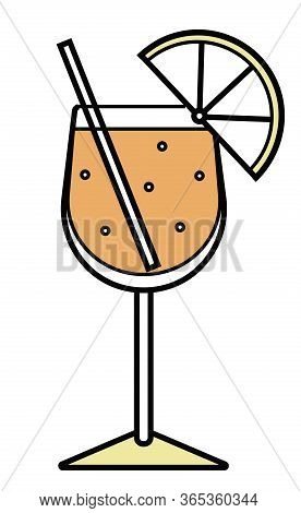 Colorful Vector Orange And Yellow Sparkling Aperol Spritz Stylized Alcohol Cocktail Logo. For Card,