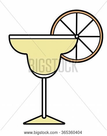Colorful Vector Orange And Yellow Stylized Margarita Alcohol Cocktail Logo Illustration. For Card, P