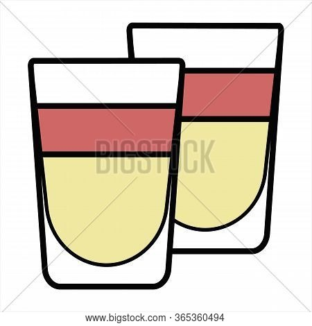 Colorful Vector Orange And Red Stylized Cocktail Logo Illustration. Couple Of Layered Shooter Shot D