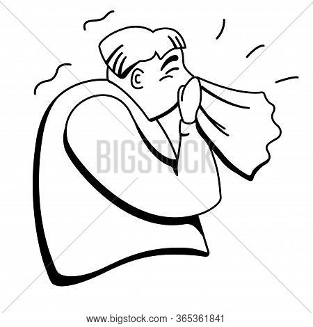 Sneezing Person Vector Illustration. Simple Black And White Illustration. Head Cold Virus Or Allergy