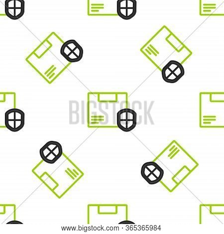 Line Delivery Security With Shield Icon Isolated Seamless Pattern On White Background. Delivery Insu