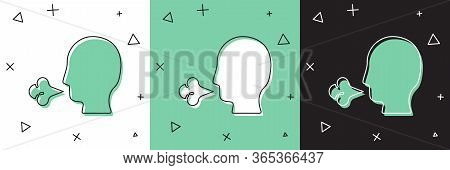 Set Man Coughing Icon Isolated On White And Green, Black Background. Viral Infection, Influenza, Flu