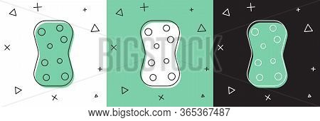 Set Sponge With Bubbles Icon Isolated On White And Green, Black Background. Wisp Of Bast For Washing