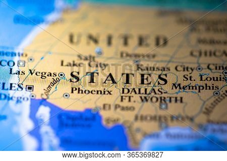 Geographical Map Location Of Country United States Of America Usa In North America Continent On Atla