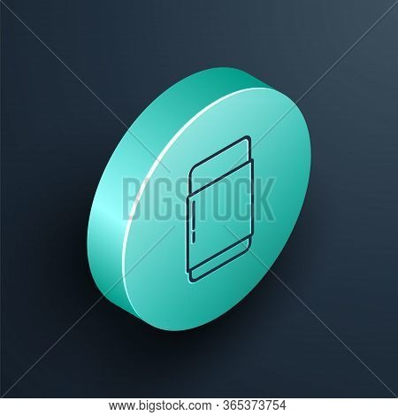 Isometric Line Eraser Or Rubber Icon Isolated On Black Background. Turquoise Circle Button. Vector I