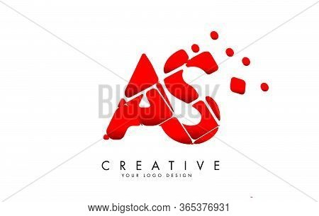 Letters As A S Design With Red Shattered Blocks. Ab A B Icon With Pattern. Creative Stamp Vector Ill
