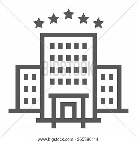 Hotel Line Icon, Tourism And Travel, Hotel Sign Vector Graphics, A Linear Icon On A White Background