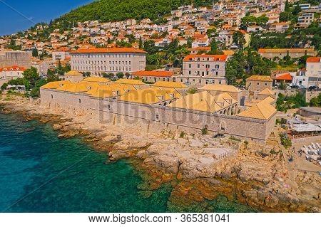 Dubrovnik, Croatia - August 28 2019: Aerial Drone Shot Of The Roof Restoration On The Lazareti Quara