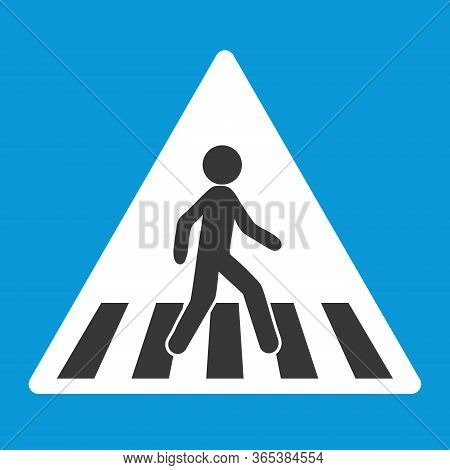 Road Sign, Pedestrian Crossing, Zebra. Blue Triangular Road Sign. Vector Illustration Flat Design El