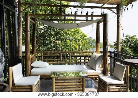 Exterior Design And Decoration Furniture At Terrace Outdoor Of Cafe Coffee Shop For Thai People And