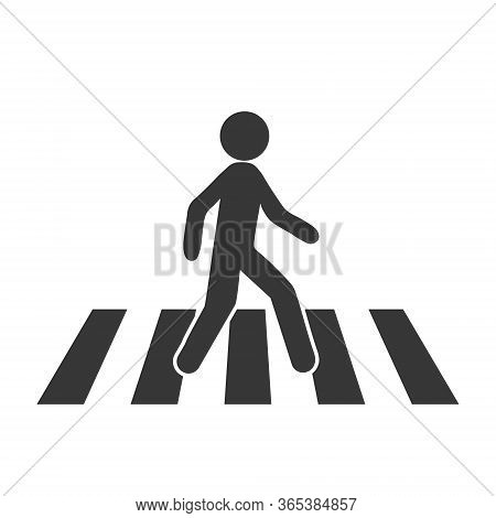 Crosswalk Icon. Flat Crosswalk Vector Icon Illustration Isolated On White Background