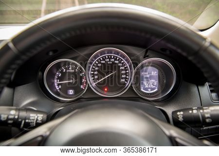 Car Speedometer Panel.speedometer Of A Vehicle.close Up Image Of Car Speed Dashboard With Light Illu