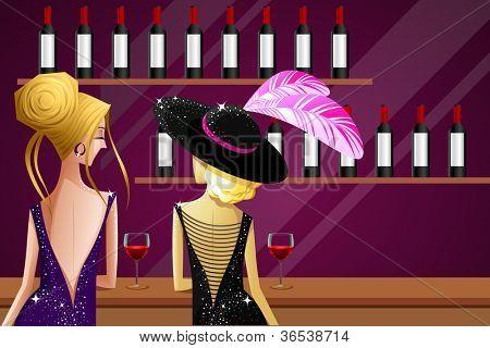 illustration of female friend enjoying drink in kitty party