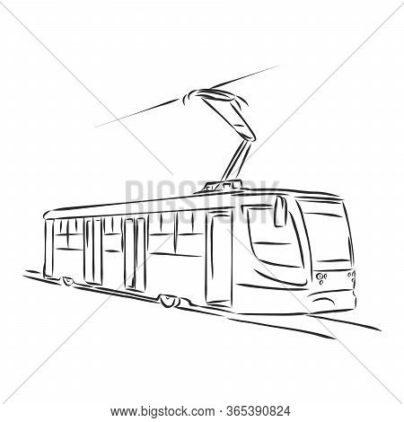 Isolated Vector Illustration Of A Tram. Public Urban Transportation. Hand Drawn Linear Doodle Ink Sk