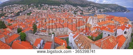 Unusual Wide Aerial Stiched Panorama Of The Dubrovnik Old Town In Croatia With Jesuit Church In The