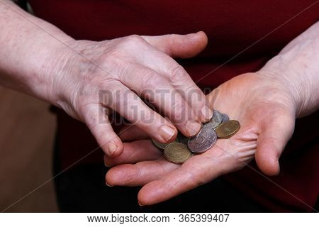 The Pensioner's Hands Count Coins. Russian Roubles. Below The Breadline. Pension Reform Concept.