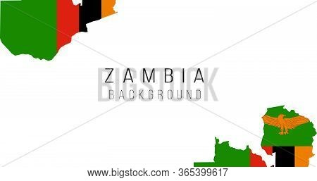 Zambia Flag Map Background. The Flag Of The Country In The Form Of Borders. Stock Vector Illustratio