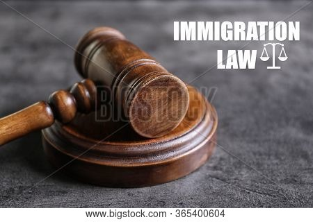 Judge's Gavel And Words Immigration Law On Grey Background, Closeup
