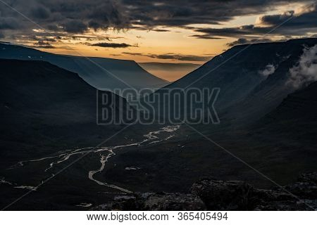 Sunset On The Putorana Plateau In Siberia In Summer With A View Of The River Valley