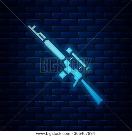 Glowing Neon Sniper Rifle With Scope Icon Isolated On Brick Wall Background. Vector Illustration