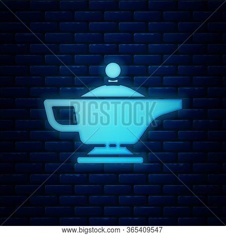 Glowing Neon Magic Lamp Or Aladdin Lamp Icon Isolated On Brick Wall Background. Spiritual Lamp For W