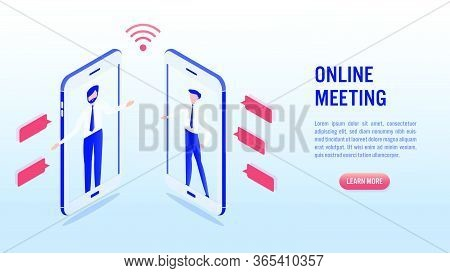 Two Man Communication Using Smartphone Video Call. Online Meeting Concept. Social Distancing. Illust