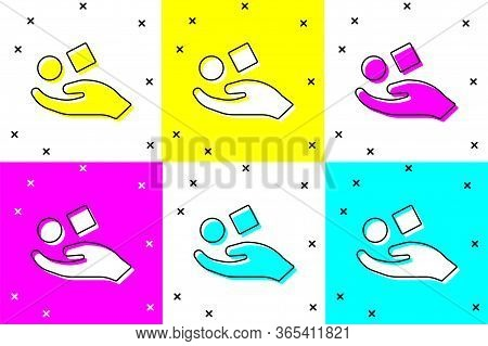 Set Cube Levitating Above Hand Icon Isolated On Color Background. Levitation Symbol. Vector Illustra