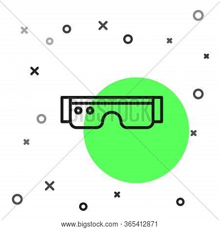 Black Line Smart Glasses Mounted On Spectacles Icon Isolated On White Background. Wearable Electroni