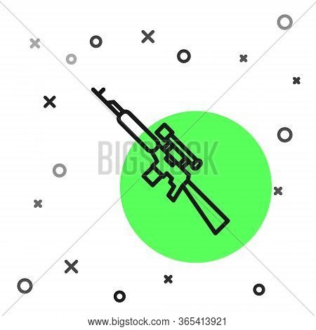 Black Line Sniper Rifle With Scope Icon Isolated On White Background. Vector Illustration
