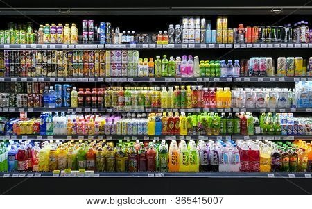 Variety Of Energy Drinks, Soda, Soft Drinks, Fruit Juice, Non-carbonated