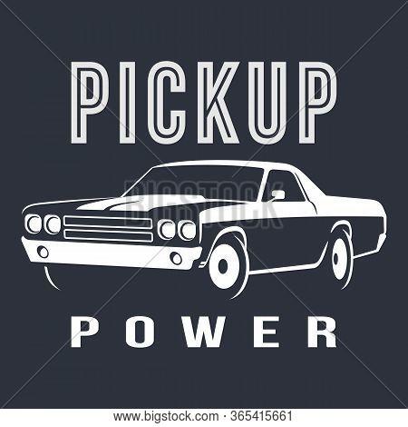 Muscle Car Pickup White Logo Vector Illustration